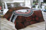 SET LENJERIE LUX PAT DUBLU 6 PIESE HOME COLLECTION NEGRU GRI ROSU SATIN, 230x250 cm, Bumbac satinat, Set complet