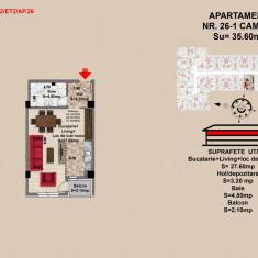 Garsoniera, Brasov, Mall Coresi, 2017, 35, 6 mp - Garsoniera de vanzare, 36 mp, Etajul 2