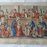 Maica Domnului si Isus inconjurati de sfinti gravura veche - Tablou autor neidentificat, Istorice, Cerneala, Altul