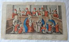 Maica Domnului si Isus inconjurati de sfinti gravura veche foto