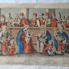 Maica Domnului si Isus inconjurati de sfinti gravura veche