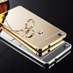 Bumper Aluminiu HUAWEI ASCEND P8 Lite + Capac Mirror Gold - Bumper Telefon