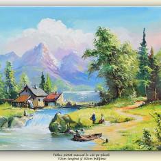 Peisaj montan (2) - tablou ulei pe panza 70x50cm, Superb! - Pictor roman, An: 2017, Peisaje, Impresionism