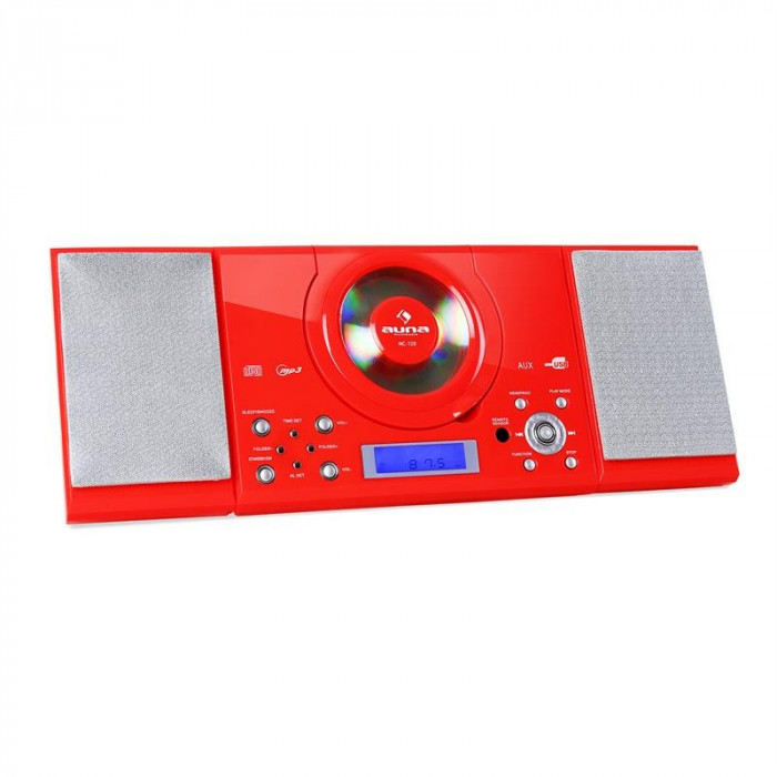 Sistem stereo Auna MC-120 Hi-Fi MP3 CD Player USB, roșu foto mare
