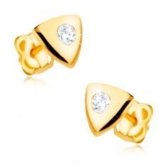 Cercei din aur galben 9K - triunghi lucios echilateral, zirconiu transparent - Cercei aur