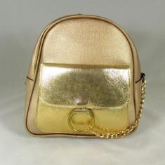 Rucsac/ghiozdan dama auriu+CADOU - Rucsac dama, Piele ecologica