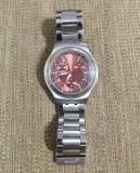 Vand ceas unisex marca WATCH+, bratara metalica, mecanism quartz, cadran rosu, Otel