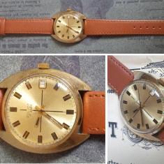 Ceas de colectie POLJOT 17J, placat cu aur, cal. 2614.2H, functional - Ceas barbatesc Poljot, Mecanic-Manual