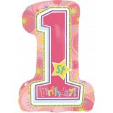 Balon folie figurina First Birthday Girl, Amscan 119324, 1 bucata