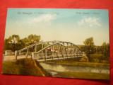 Ilustrata Sfantu Gheorghe Podul peste Olt circulat 1925 , color, Necirculata, Printata