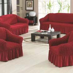 Set huse creponate si elastice canapele si fotoliu 3+2+1 Bordo