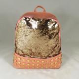 Rucsac/ghiozdan mare roz cu paiete si capse+CADOU - Rucsac dama