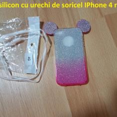 Husa silicon cu urechi de soricel IPhone 4 roz - Husa Telefon, iPhone 4/4S, Cu snur