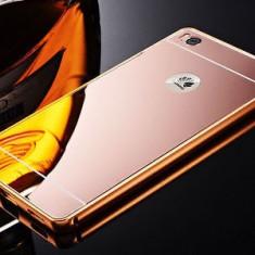 Bumper Aluminiu HUAWEI ASCEND P8 Lite + Capac Mirror Rose Gold - Bumper Telefon