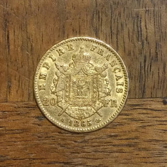 FRANTA MONEDA AUR 20 FRANCS NAPOLEON III 1865 A, Europa