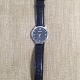 Vand ceas barbatesc marca ROMAN, mecanism quartz, cadran negru, Elegant, Otel, Piele - imitatie, Analog