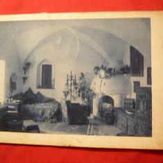 Ilustrata Castelul Bran , interior , circulat 1929