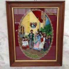 Vechi tablou, pictura pe sticla - Tablou autor neidentificat, Scene gen, Ulei, Altul