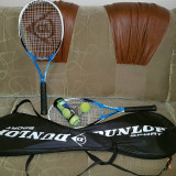 Rachete tenis Dunlop + huse si 4 mingi originale.