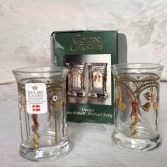 Set 2 paharele din sticla, editie de Craciun, Holmegaard Suedia