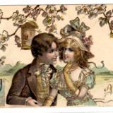 FELICITARE IN RELIEF FRANTA PRIETENIE FLORI COLIVIE - Carte postala tematica, Circulata, Printata