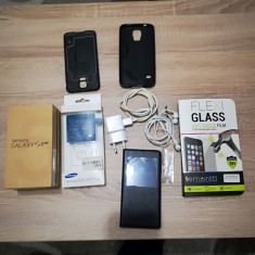 Samsung Galaxy S5 4G+ impecabil cu husa s-view, sticla securizata noua, fullbox - Telefon mobil Samsung Galaxy S5, Negru, 16GB, Orange, Single SIM