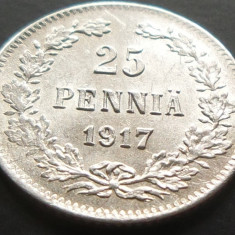 MONEDA ISTORICA ARGINT 25 Pennia - FINLANDA/RUSIA TARISTA, anul 1917 *cjaCOD 66, Europa