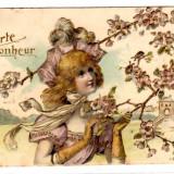 FELICITARE IN RELIEF FRANTA NOROC FLORI GANDAC RADASCA DOMNISOARA - Carte postala tematica, Circulata, Printata