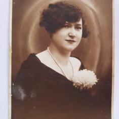 Fotografie veche, inceput sec. XX, atelier Szenetra, Timisoara, portret femeie, Alb-Negru, Portrete, Romania 1900 - 1950