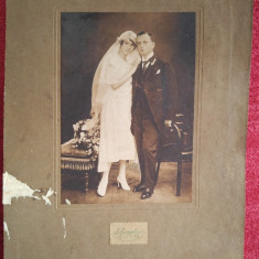 Fotografie veche, inceput sec. XX, atelier Szenetra, Temesvar, portret familie, Alb-Negru, Portrete, Romania 1900 - 1950