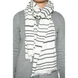 Esarfa Dama Only Onlliva Weaved Stripe Scarf Cloud Dancer / Stripes Black - Esarfa, Sal Dama, Culoare: Alb
