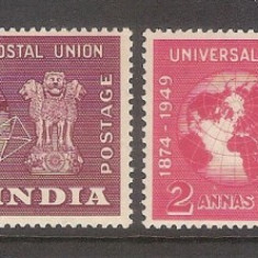 Colonii engleze, India, 1949, UPU, MNH** - Timbre straine, Nestampilat