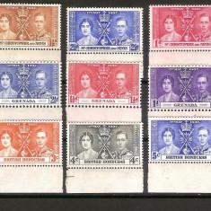 Lot 3 serii colonii engleze, Grenada, Nevis, Honduras, 1937, MNH** - Timbre straine, Nestampilat