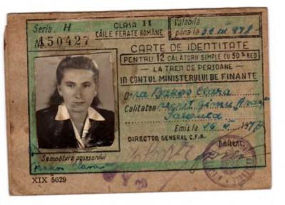 CFR 1948 CLASA II 50% RED CARTE DE IDENTITATE IN CONTUL MINISTERULUI DE FINANTE foto