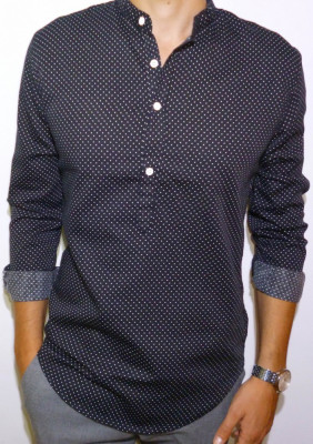 Camasa bleumarin cu buline - camasa slim fit camasa bumbac camasa barbat cod 149 foto