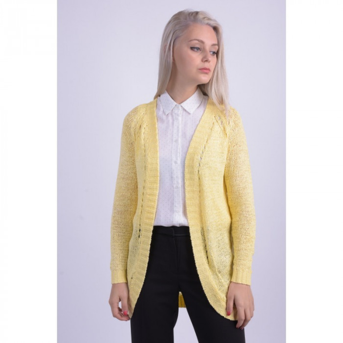Cardigan Lung Vila Ray Knit Pale Banana Galben foto mare