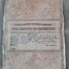 Titlu definitiv de proprietate din perioada lui Ferdinand I/ nesemnat, nedatat - Hartie cu Antet