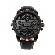 Ceas militar Oulm Quartz Chronograph 4-Dial 3233, negru - Ceas barbatesc, Fashion