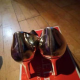 Pantofi Stiletto cu toc - Pantof dama VCLM, Culoare: Auriu, Marime: 37