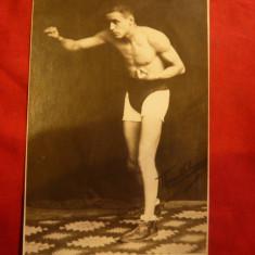 Fotografie Boxeur Marcel Schoenfeld 1928 dedicata bancherului Weingarten