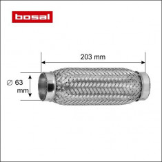 Racord tub flexibil toba esapament 63 x 203 mm BOSAL cod 265-339
