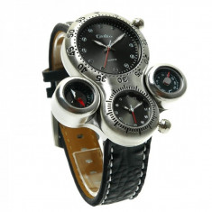 Ceas militar Oulm HP1149 Quartz time zone, negru - Ceas barbatesc, Fashion