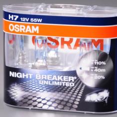 Set 2 becuri Osram H7 Night Breaker Unlimited (+110 lumina) 12V 55W cod 64210NBU / 64210NBU DUO