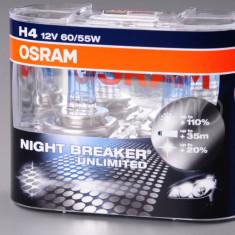 Set 2 becuri Osram H4 Night Breaker Unlimited (+110 lumina) 12V 60/55W cod 64193NBU / 64193NBU DUO