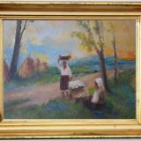 Leon Alexandru Biju - Popas la marginea drumului - Ologeni,  u/c, Scene gen, Ulei, Altul