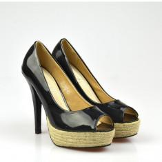 Pantofi NOI cu toc si platforma, marimea 37 - Pantof dama, Culoare: Negru, Piele sintetica