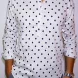 Camasa alba cu buline - camasa slim fit camasa bumbac camasa barbat cod 148, L, M, S, XL, Maneca lunga