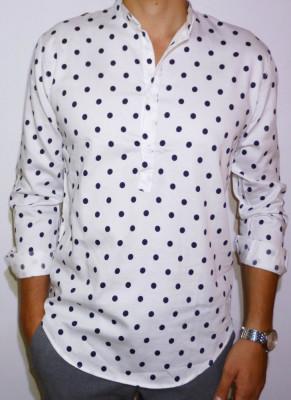 Camasa alba cu buline - camasa slim fit camasa bumbac camasa barbat cod 148 foto