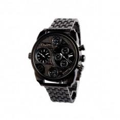 Ceas militar Oulm Quartz Dual Time Zone 9316, negru - Ceas barbatesc, Fashion