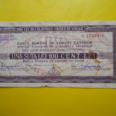 HOPCT CEC DE CALATORIE 100 LEI ROMANIA -CEHOSLOVACIA - Bancnota romaneasca